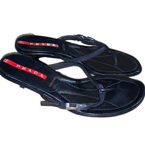 Prada Y2K Vintage Leather Kitten Heel Thong Sandal